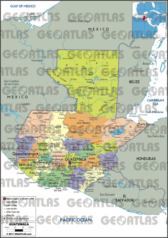 Carte des régions du Guatemala