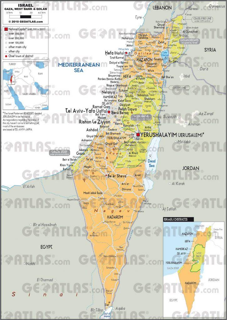 Carte des régions d'Israël