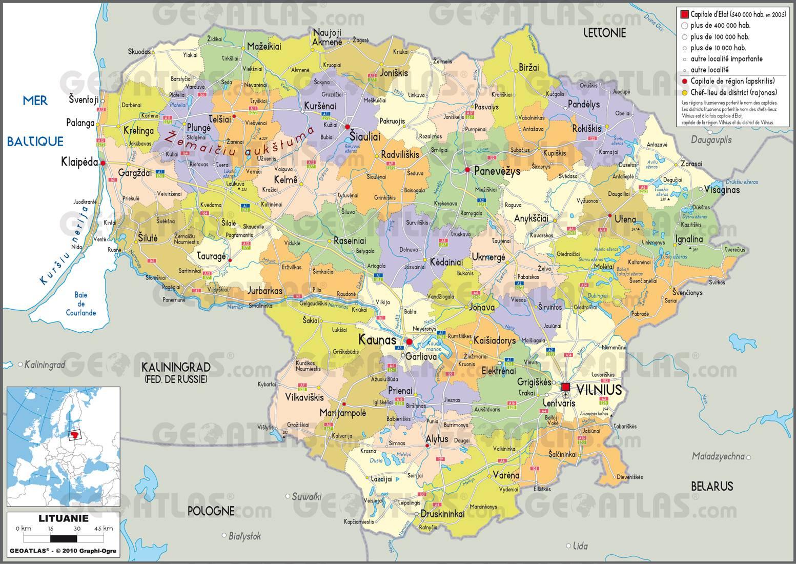 Carte des régions de la Lituanie
