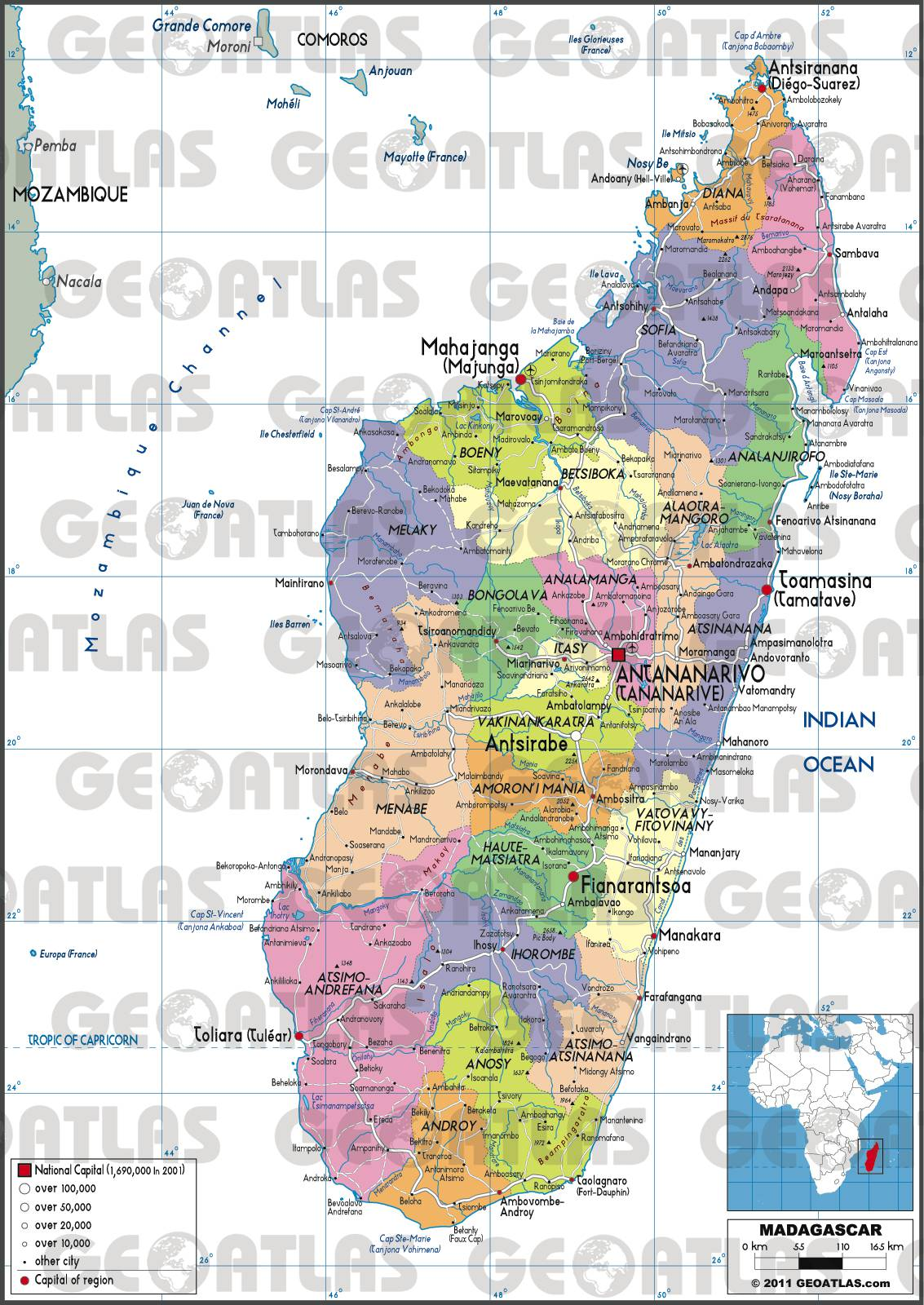 Carte des régions de Madagascar