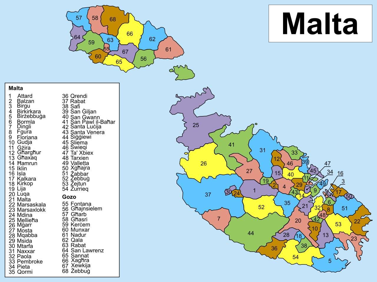 Carte des régions de Malte