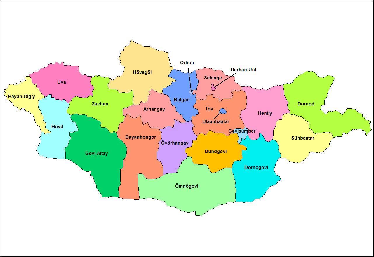 Carte des régions de la Mongolie