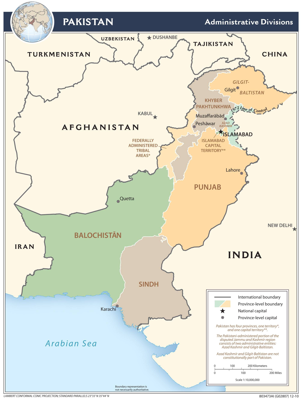 Carte Regions Pakistan