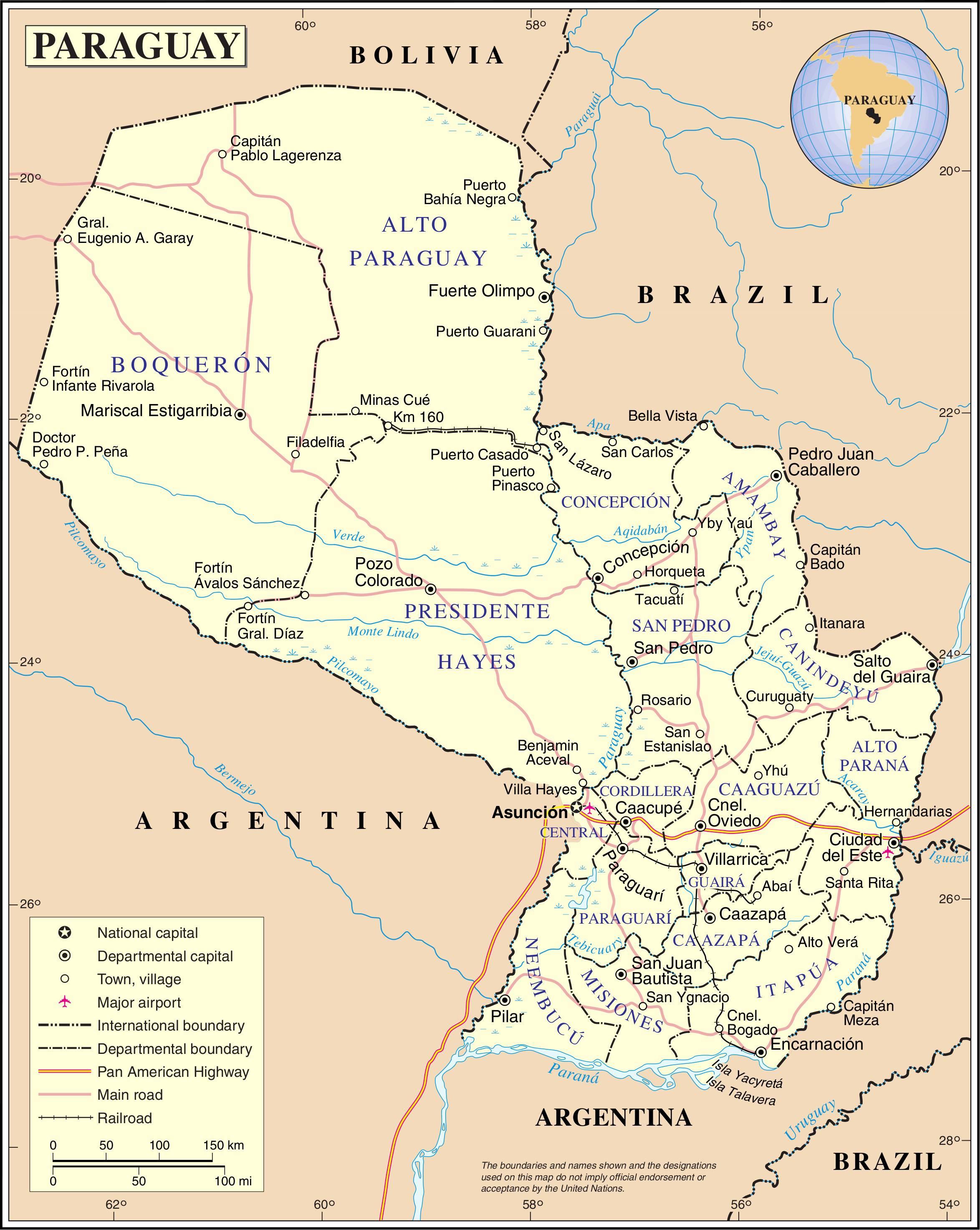 Carte des régions du Paraguay