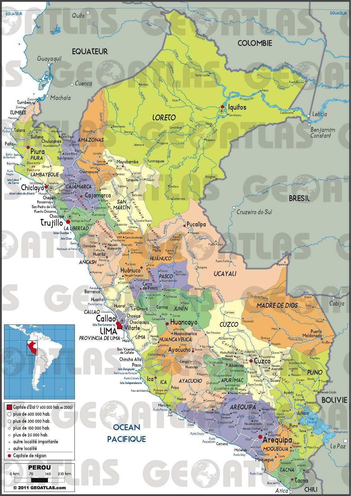 Carte du Pérou - Carte du pays en Amérique-du-Sud (villes, géographie...)