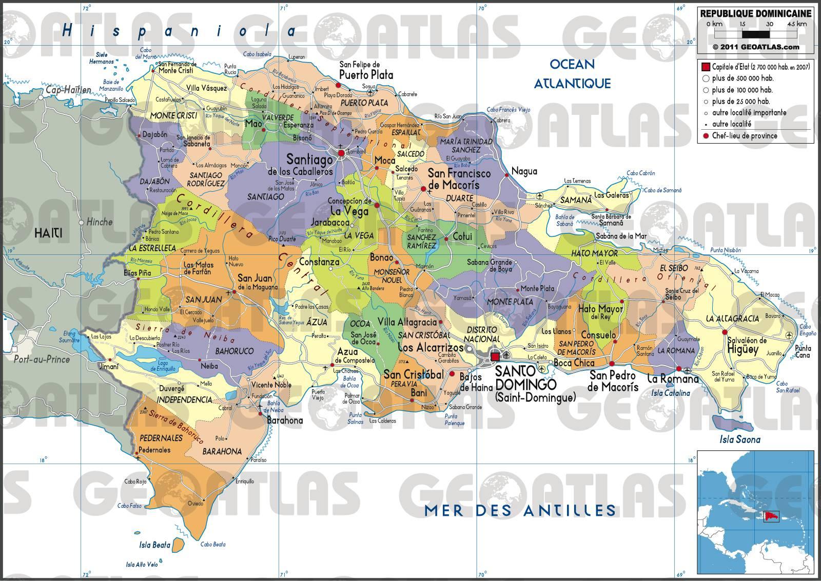 Carte des régions de la République dominicaine