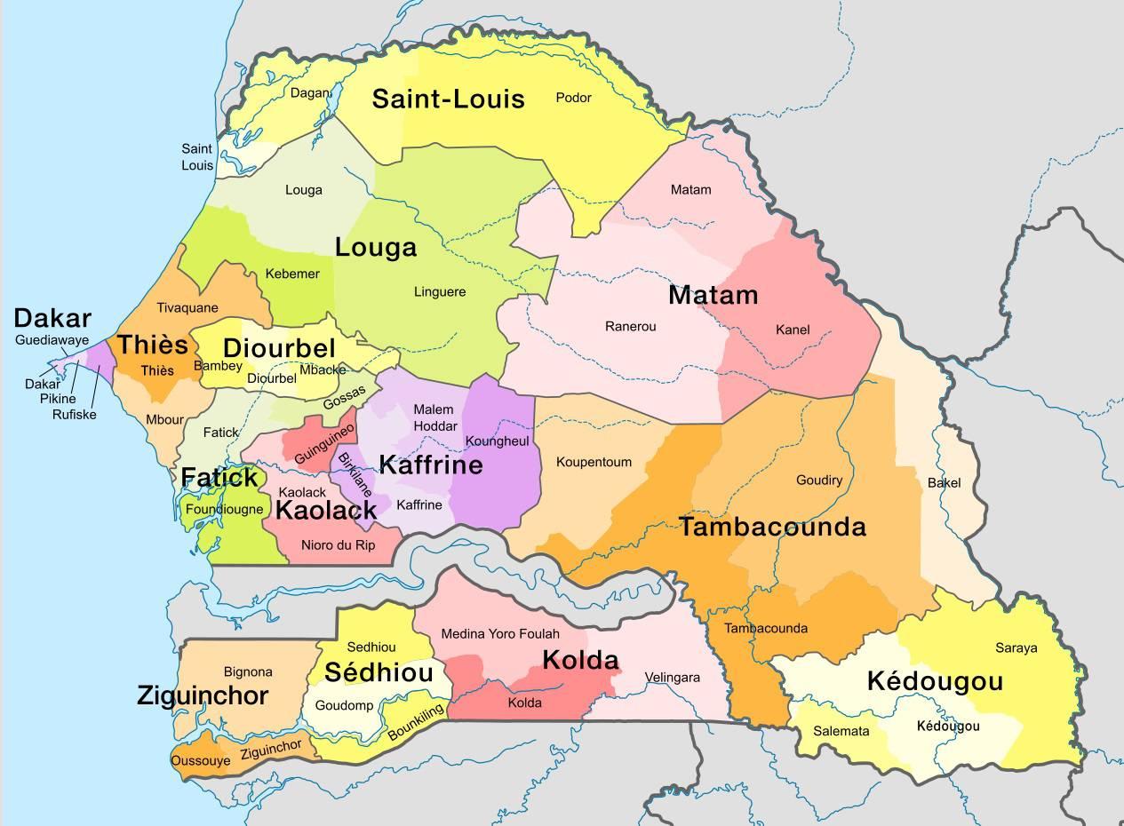 Carte Sénégal - Voyages - Cartes