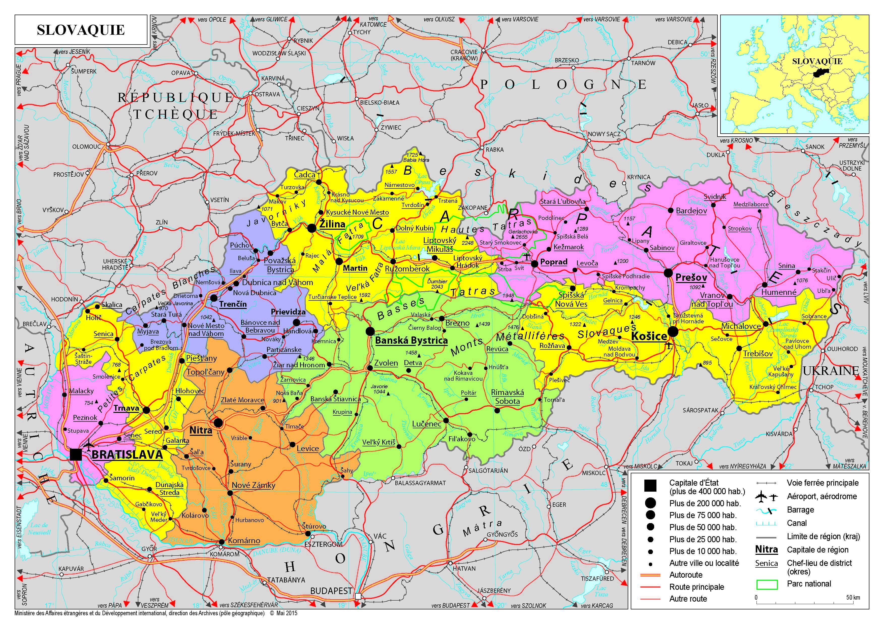 Carte des régions de la Slovaquie