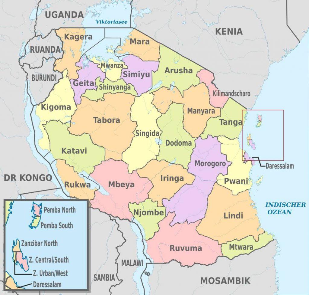 Carte des régions de la Tanzanie