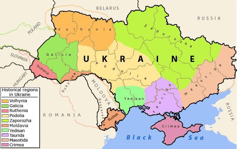 Carte des régions de l'Ukraine