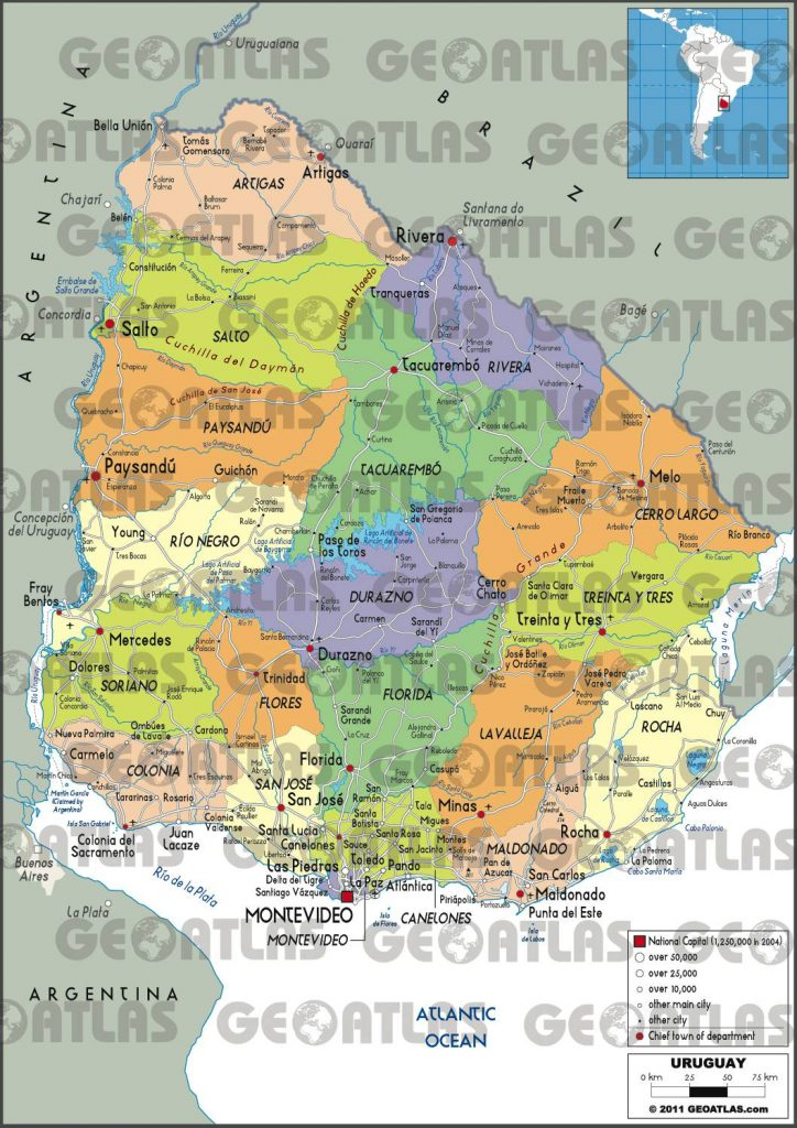 Carte des régions de l'Uruguay