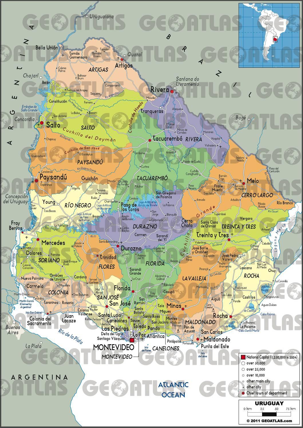 Carte Uruguay Villes