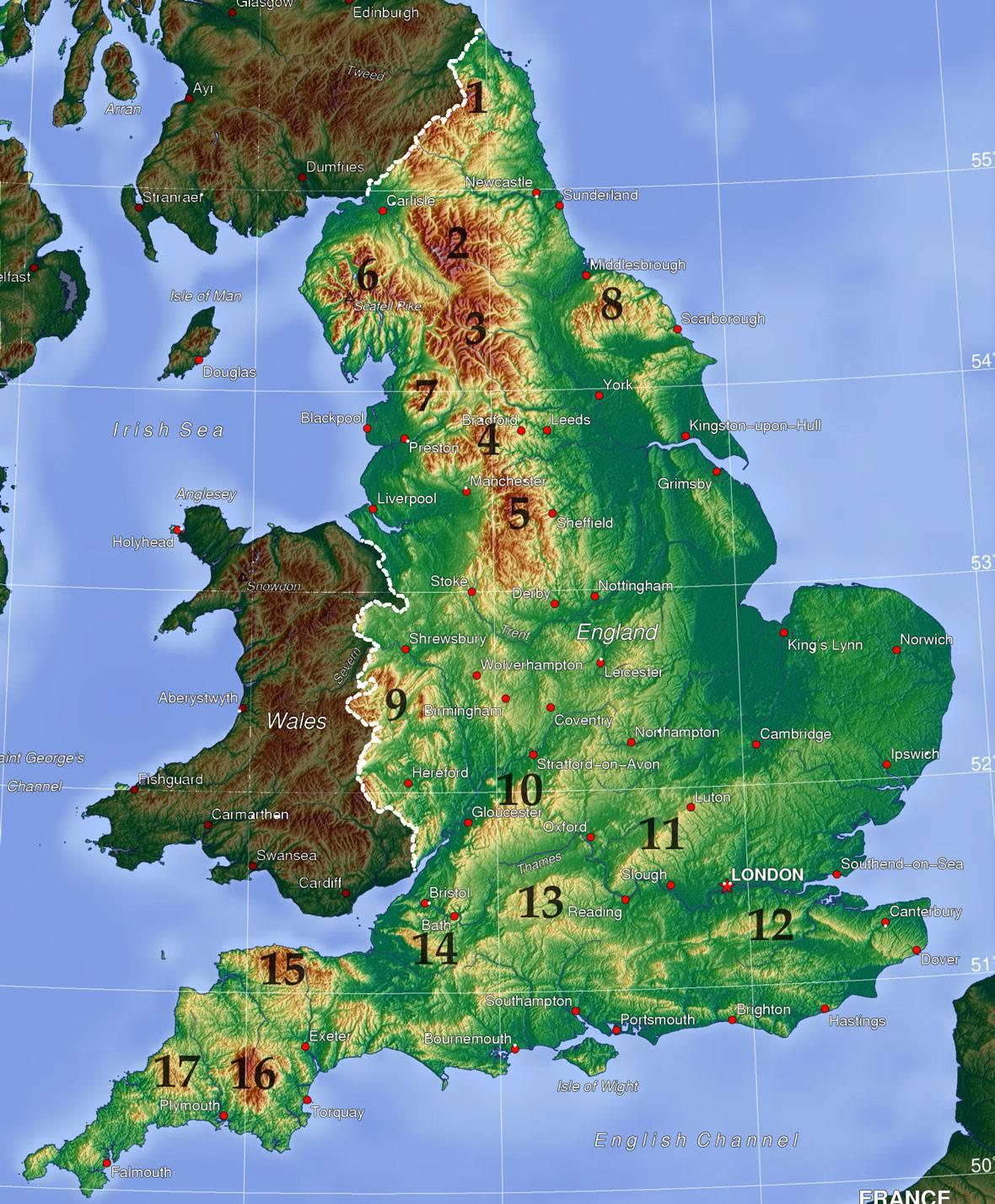 Carte du relief de l'Angleterre