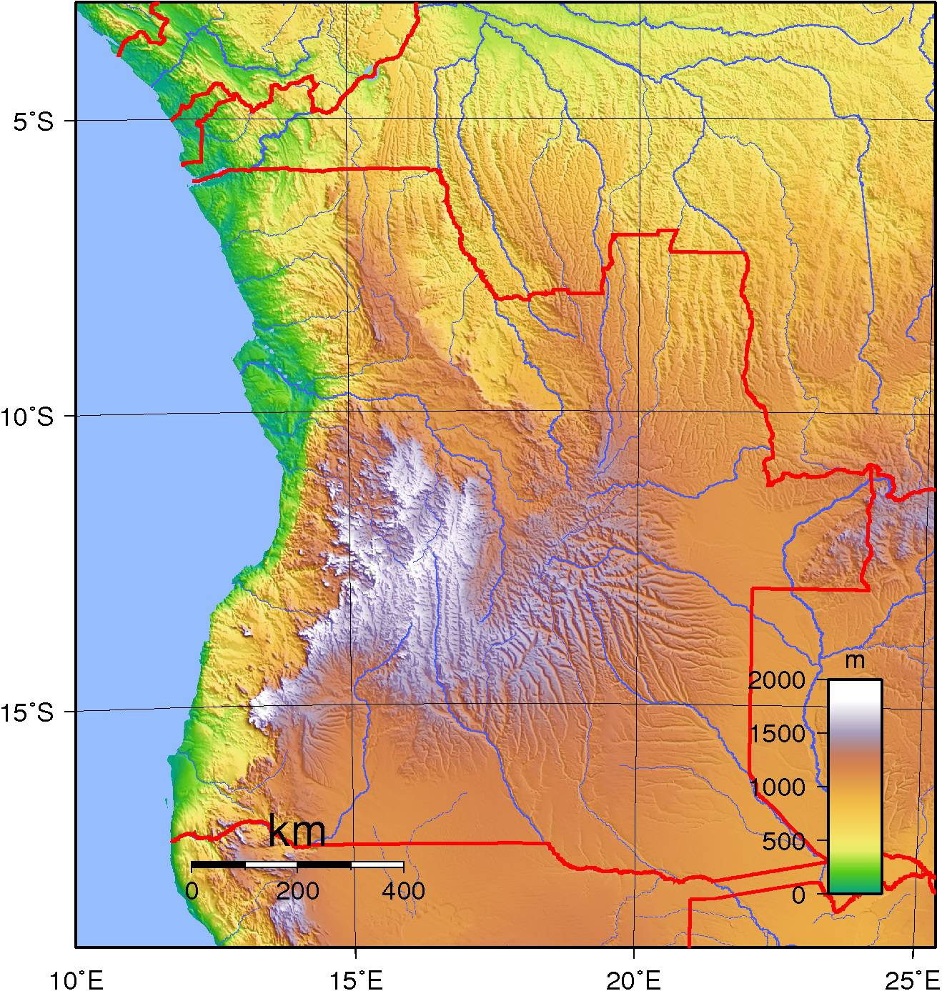 Carte du relief de l'Angola