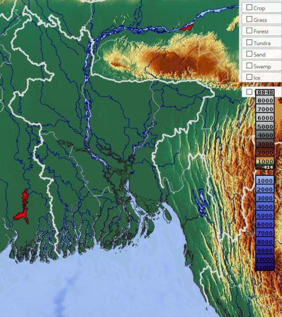 Carte du relief du Bangladesh