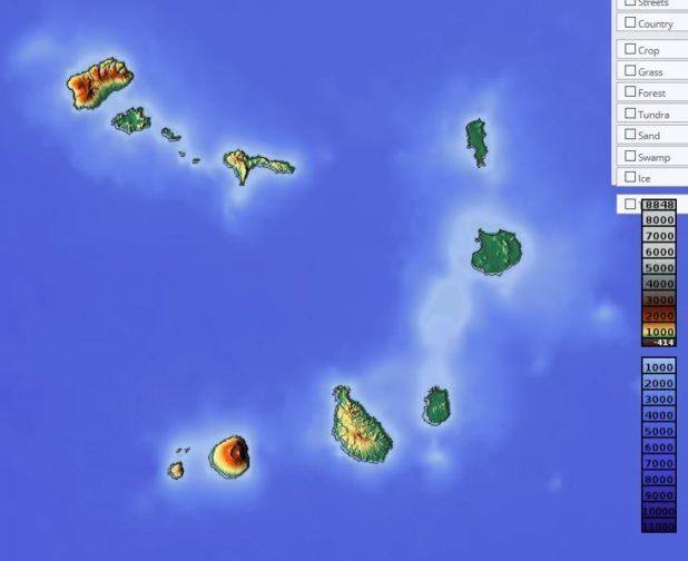 Carte du relief du Cap-Vert