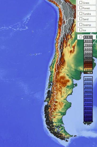 Carte du relief du Chili