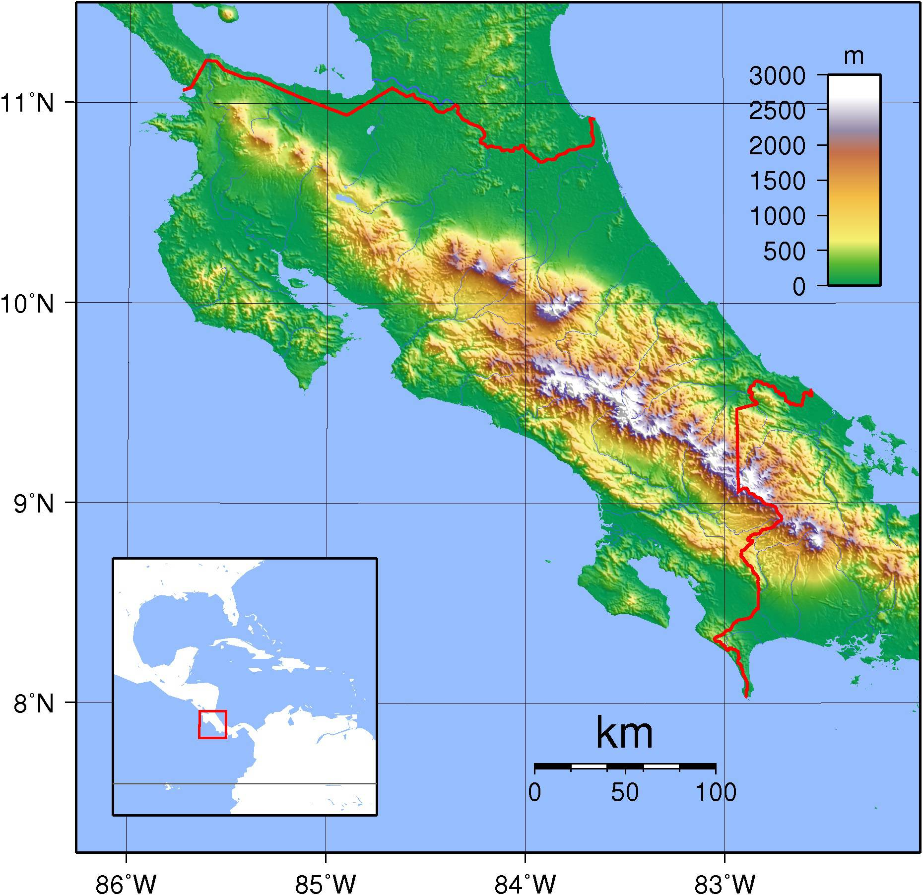 Carte du relief du Costa Rica