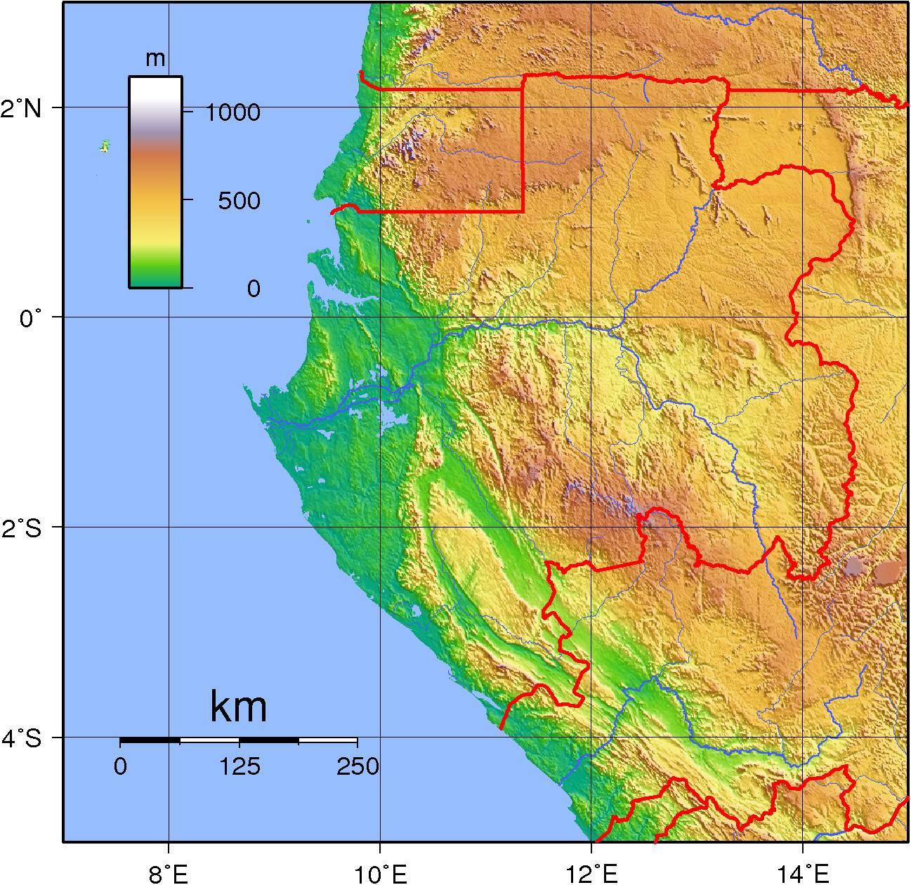 Carte du relief du Gabon