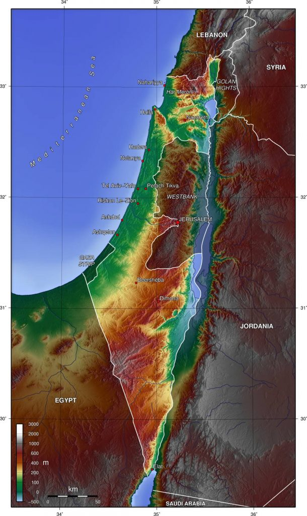 Carte du relief d'Israël