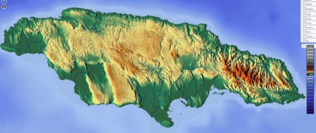 Carte du relief de la Jamaïque