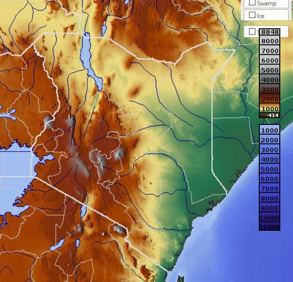Carte du relief du Kenya