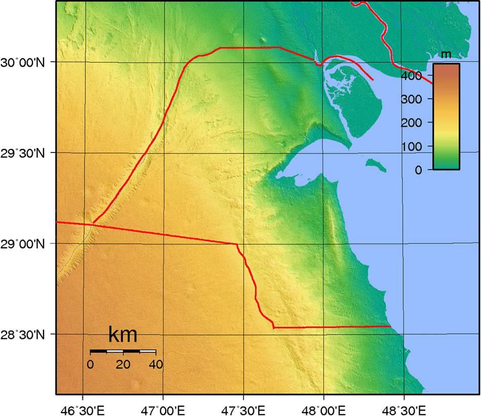 Carte du relief du Koweït