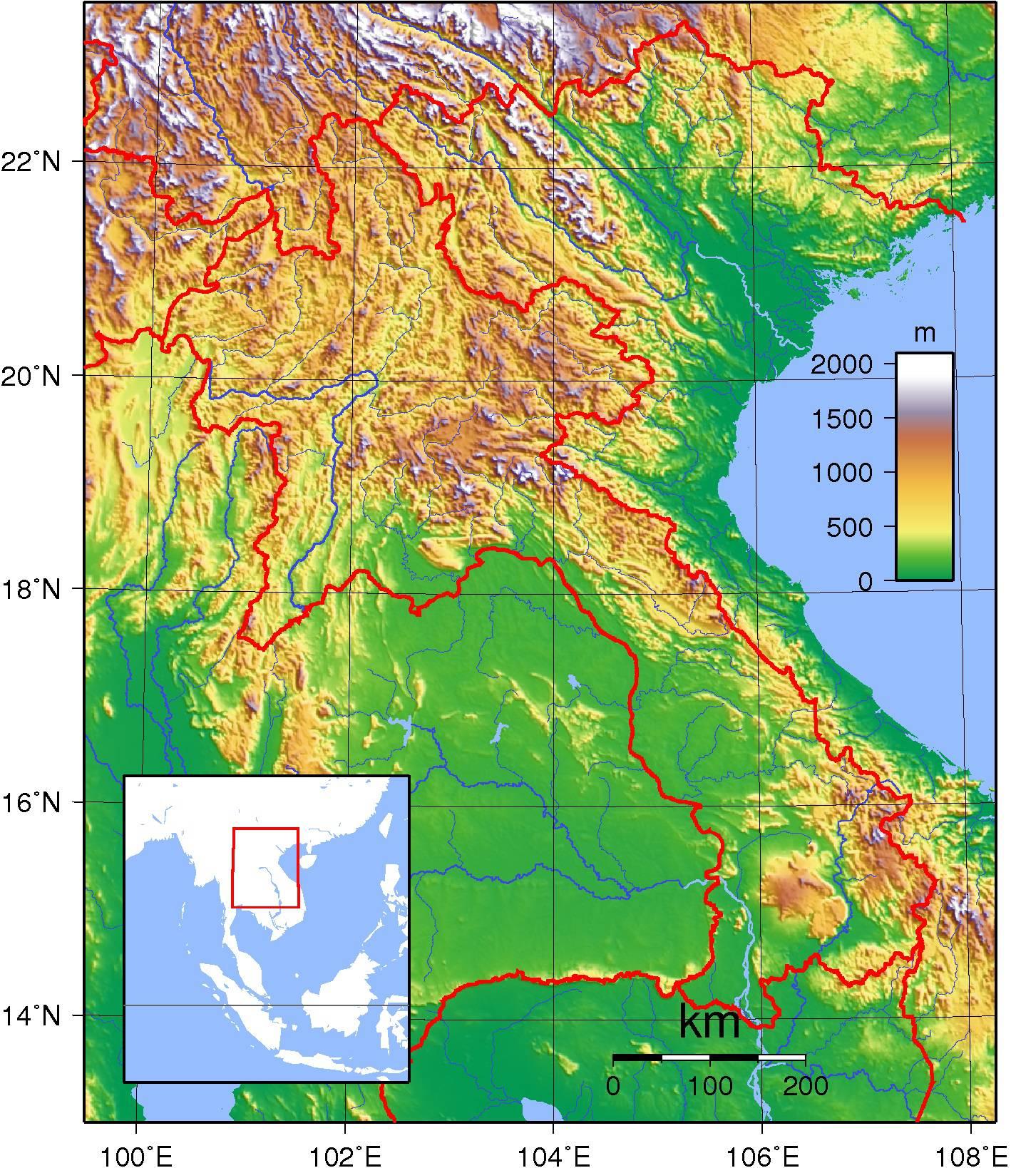 Carte du relief du Laos