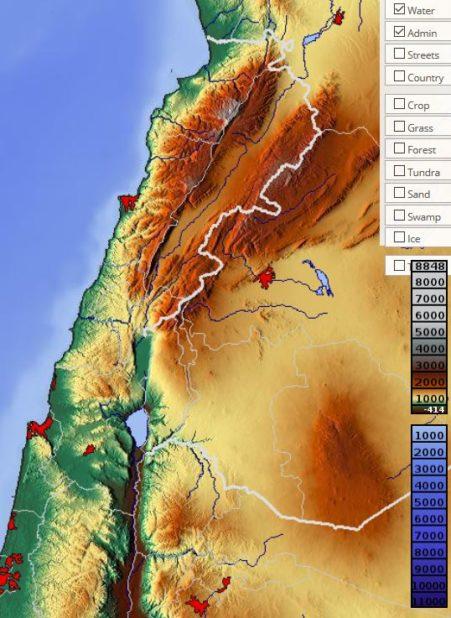 Carte du relief du Liban