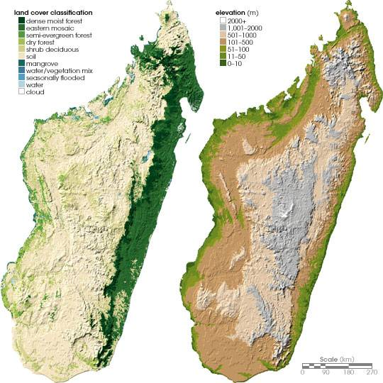 Carte du relief de Madagascar