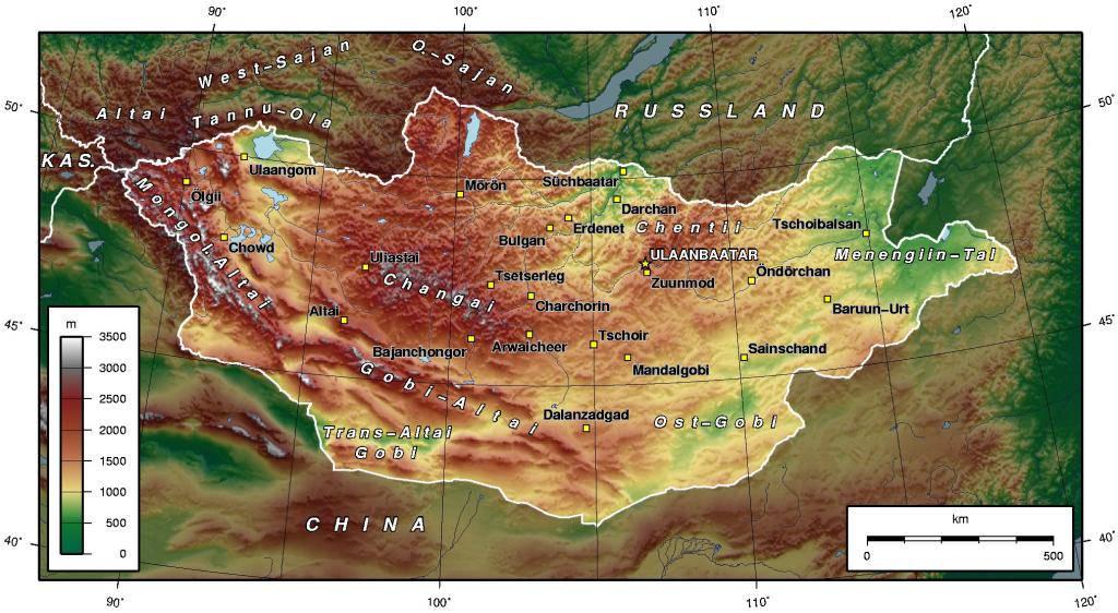 Carte du relief de la Mongolie