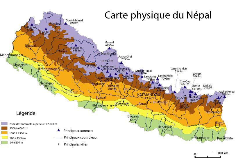 Carte du relief du Népal