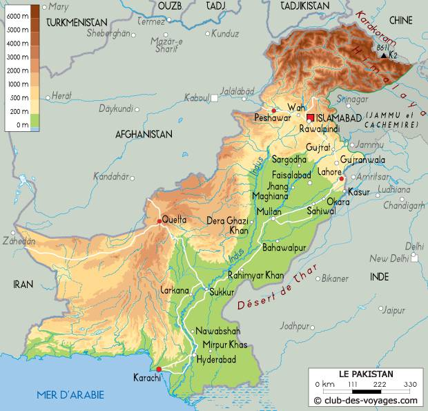 Carte du relief du Pakistan