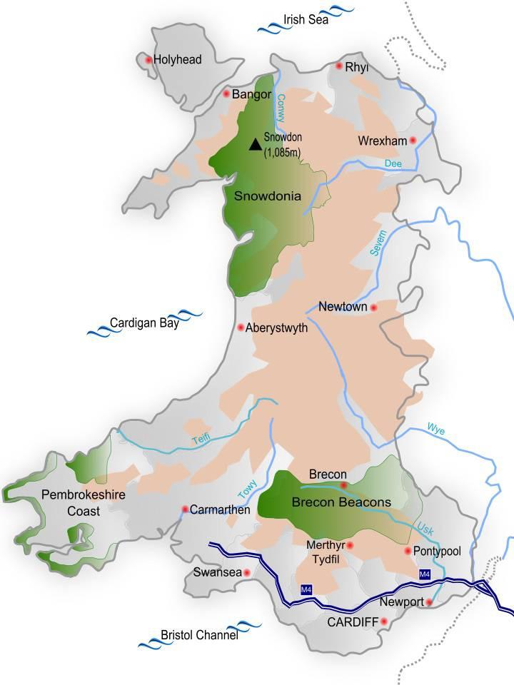 Carte du relief du Pays de Galles