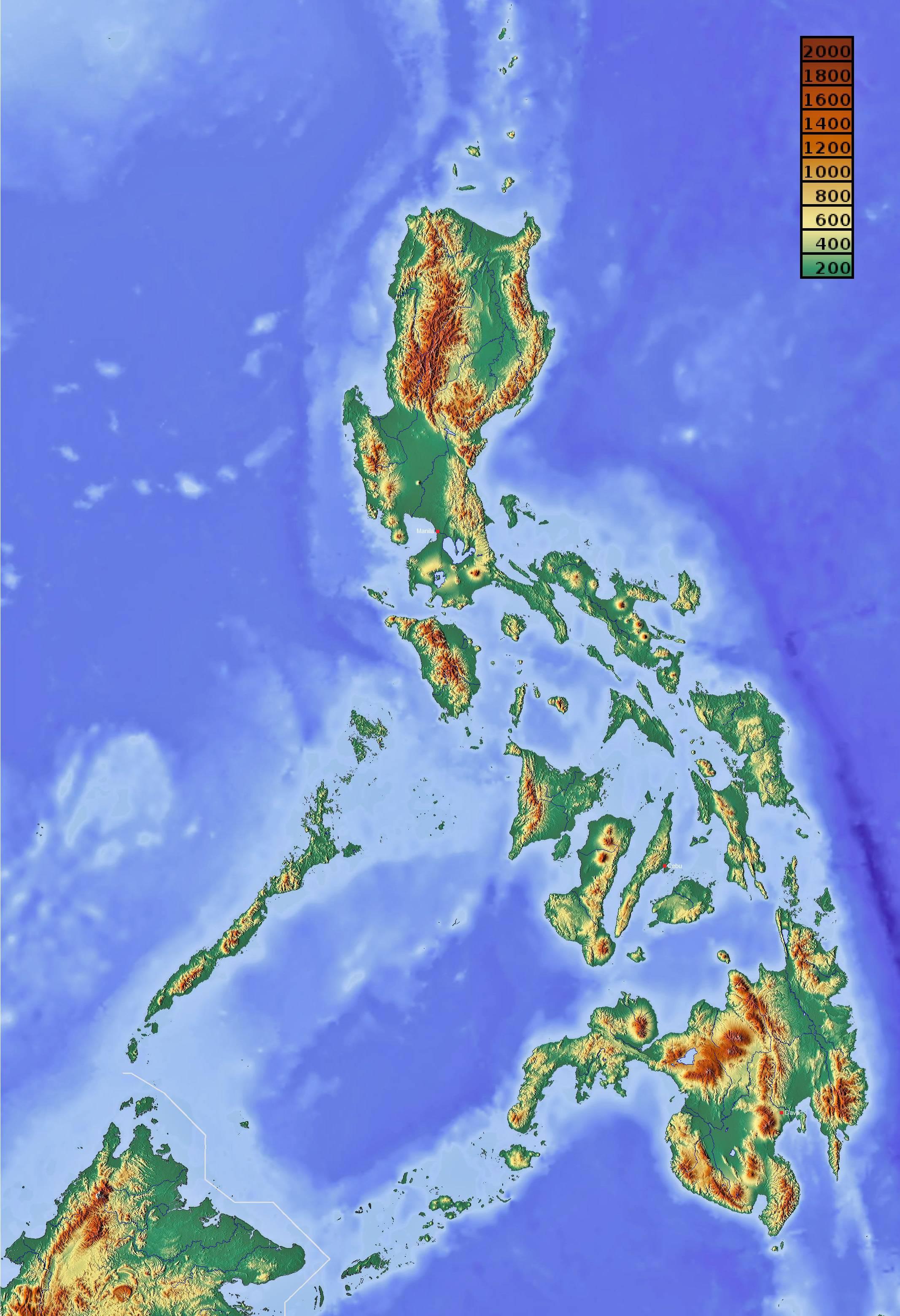 Carte du relief des Philippines