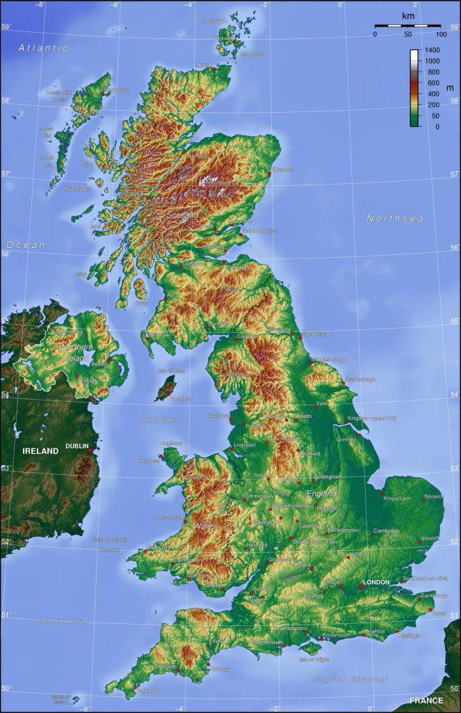 Carte du relief du Royaume-Uni