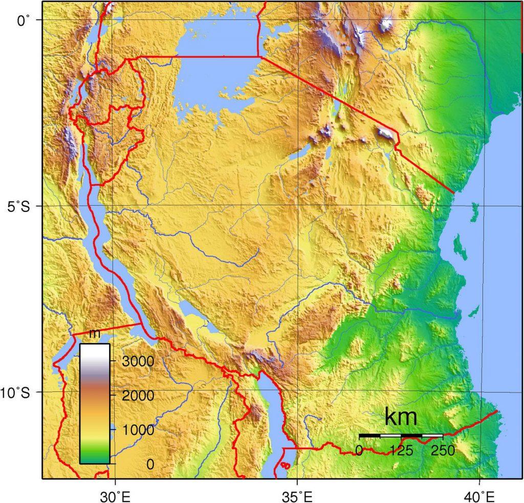 Carte du relief de la Tanzanie