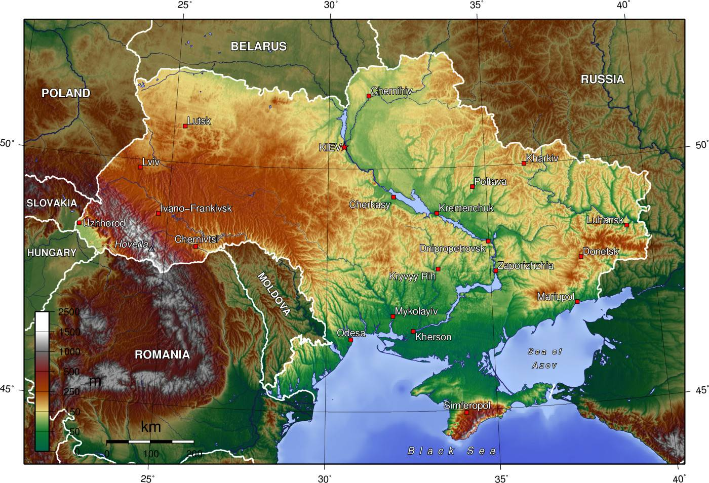 Carte du relief de l'Ukraine