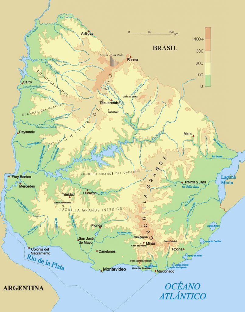 Carte du relief d l'Uruguay