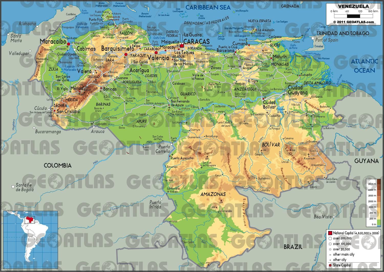 Carte du relief du Venezuela