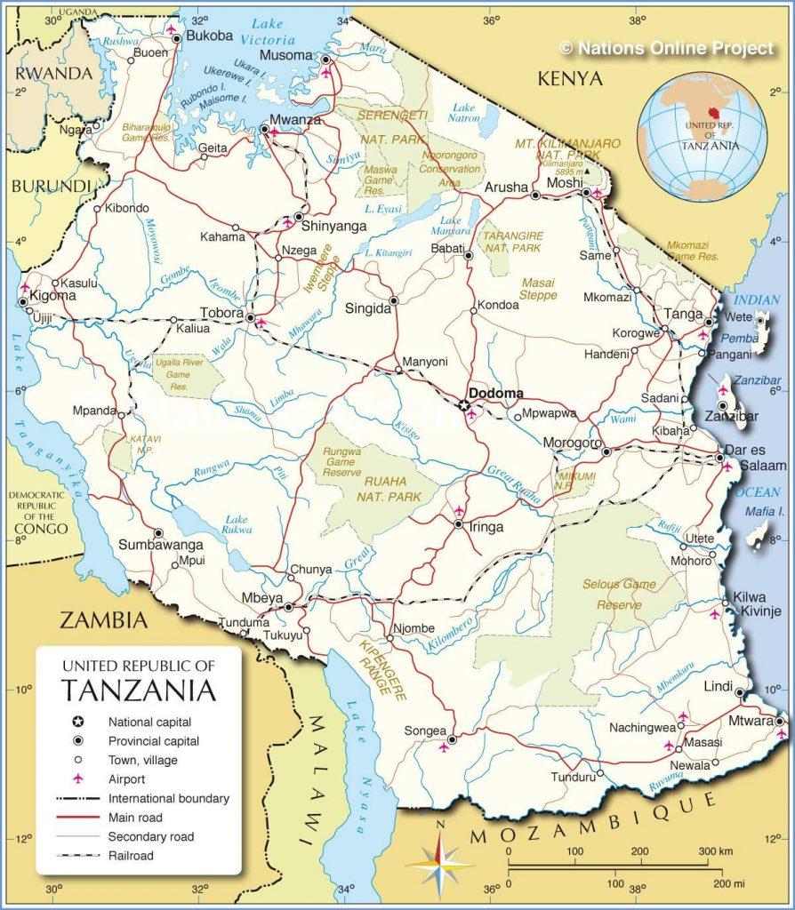 Carte des réserves de la Tanzanie