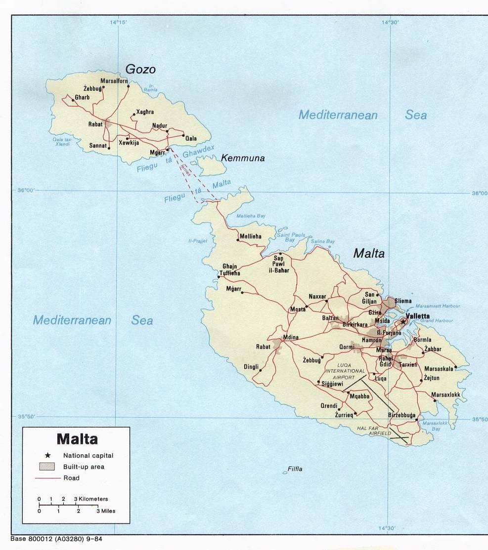 Carte des routes de Malte