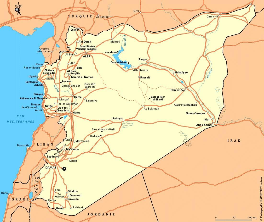 Carte des routes de Syrie