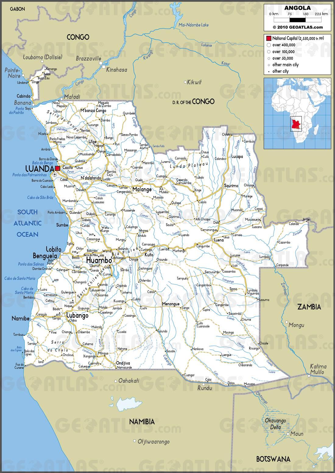 Carte routière de l'Angola