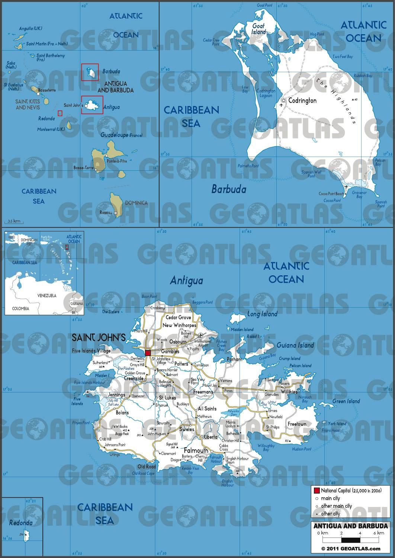 Carte routière d'Antigua-et-Barbuda