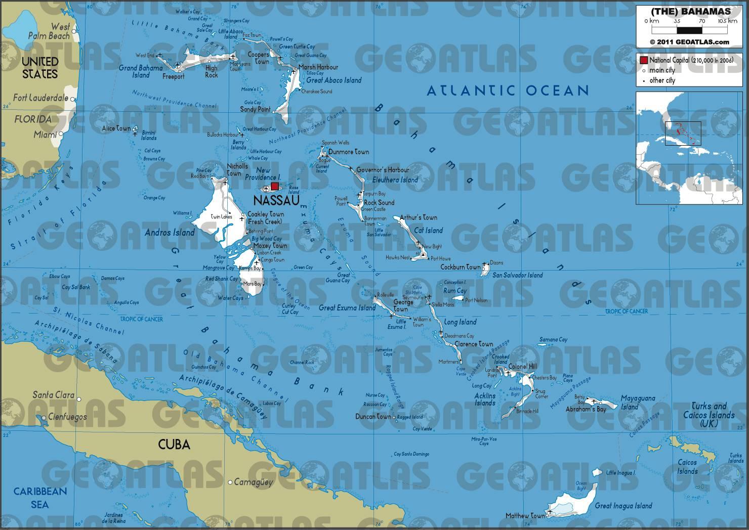 Carte routière des Bahamas