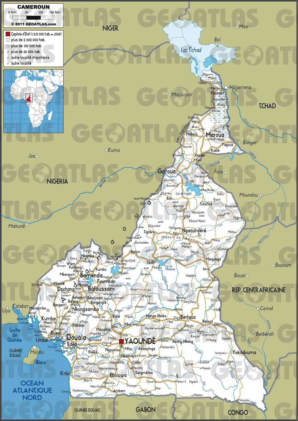 Carte routière du Cameroun