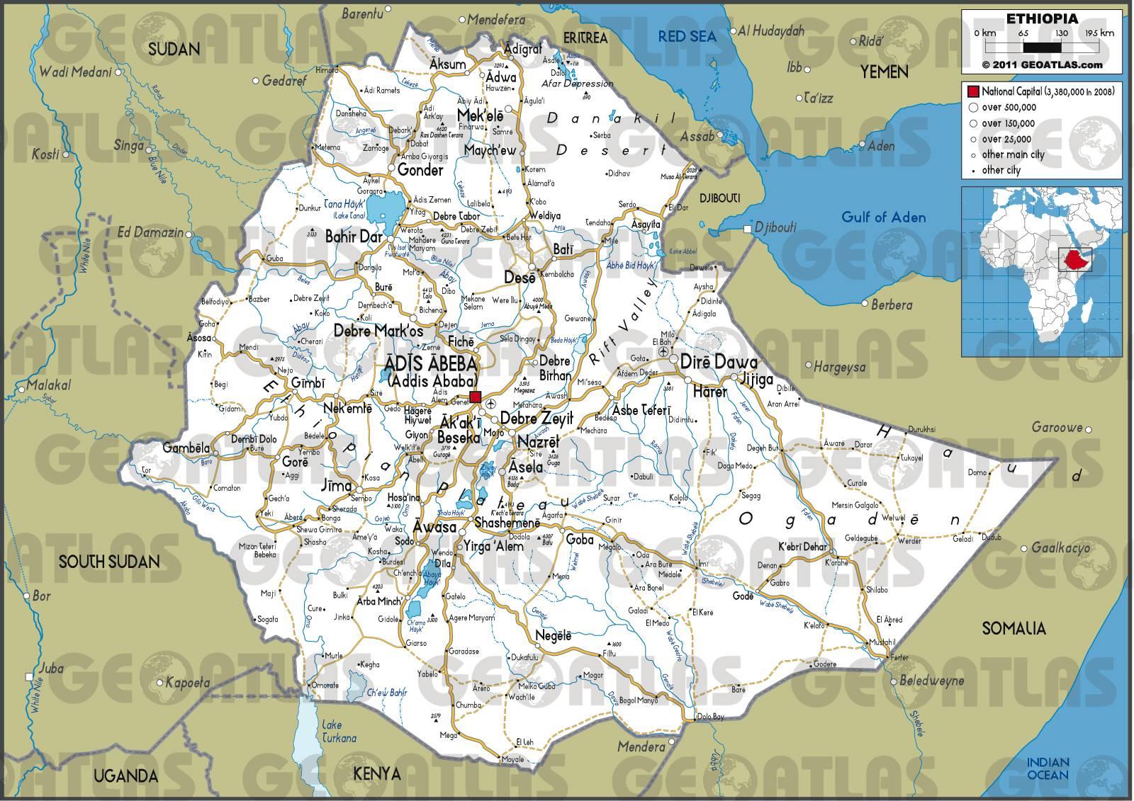 Carte routière de l'Ethiopie