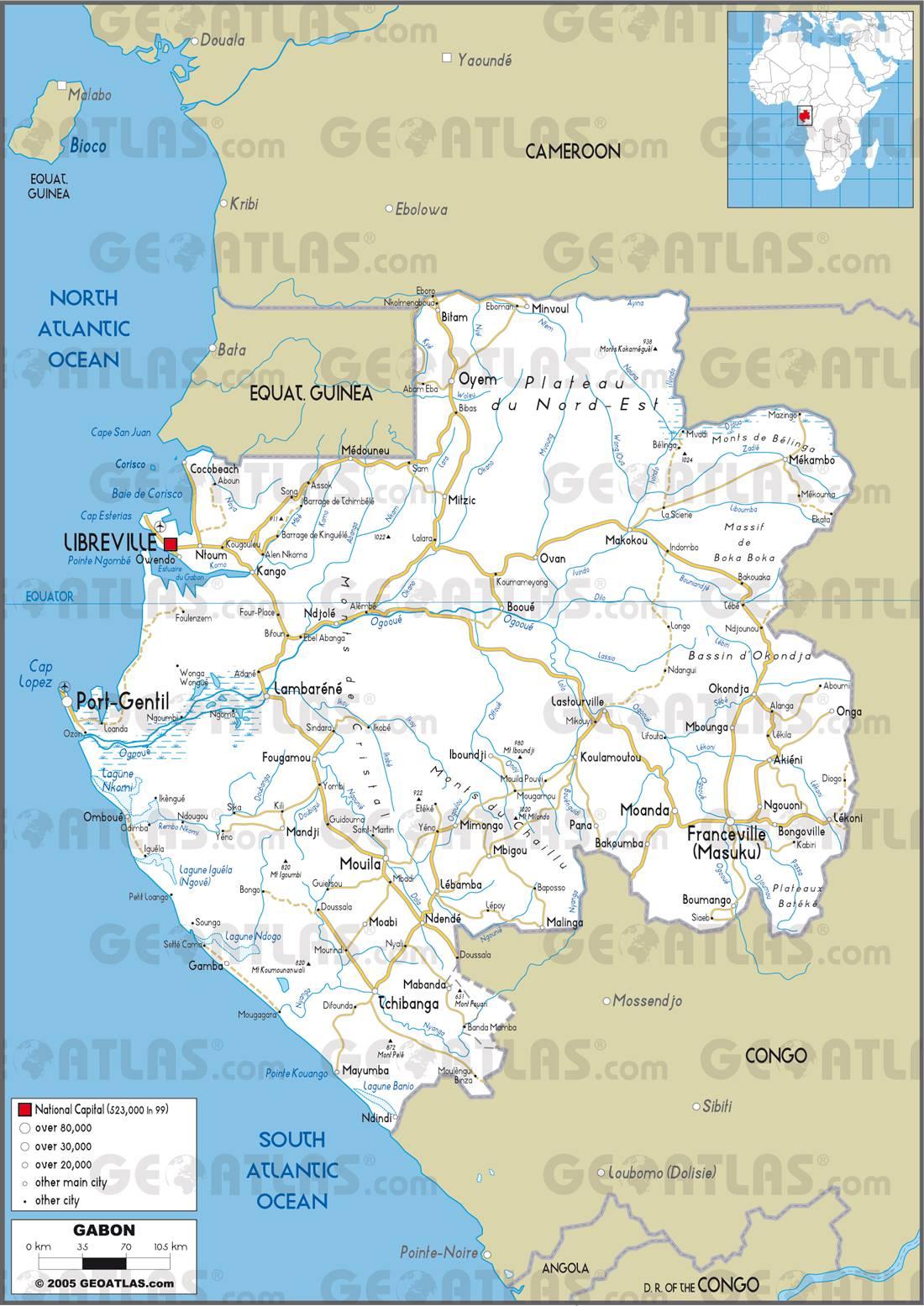Carte routière du Gabon