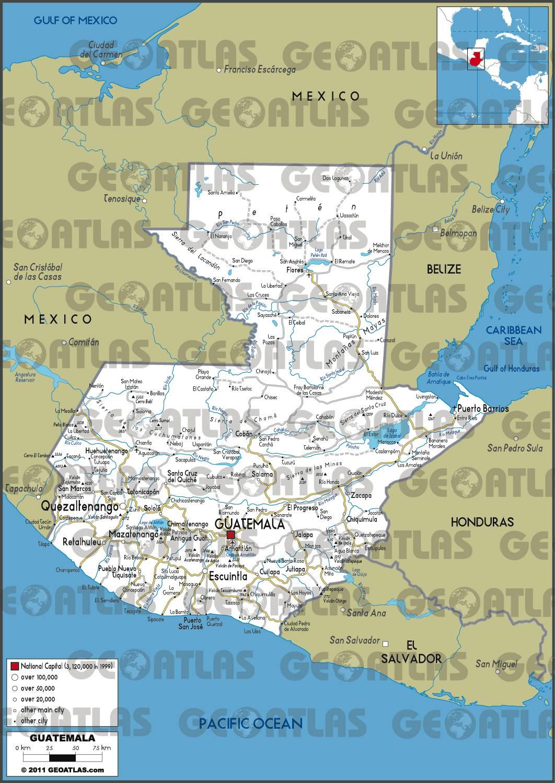 Carte routière du Guatemala